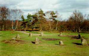 The stone circle known as 'The Nine Ladies' in Derbyshire, England.